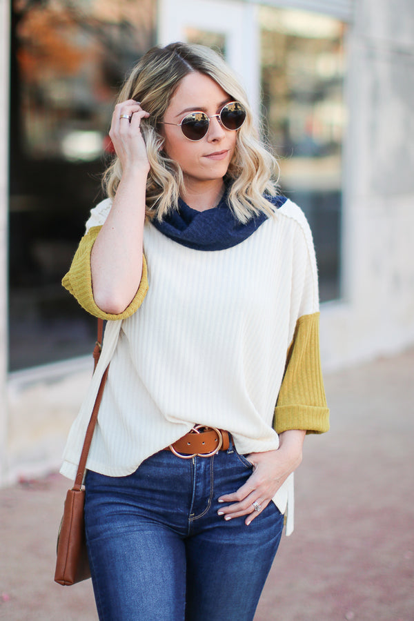Ayden Color Block Cowl Neck Top - Navy - Madison + Mallory