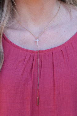 Gold Desi Cross Charm Lariat Necklace - Madison and Mallory