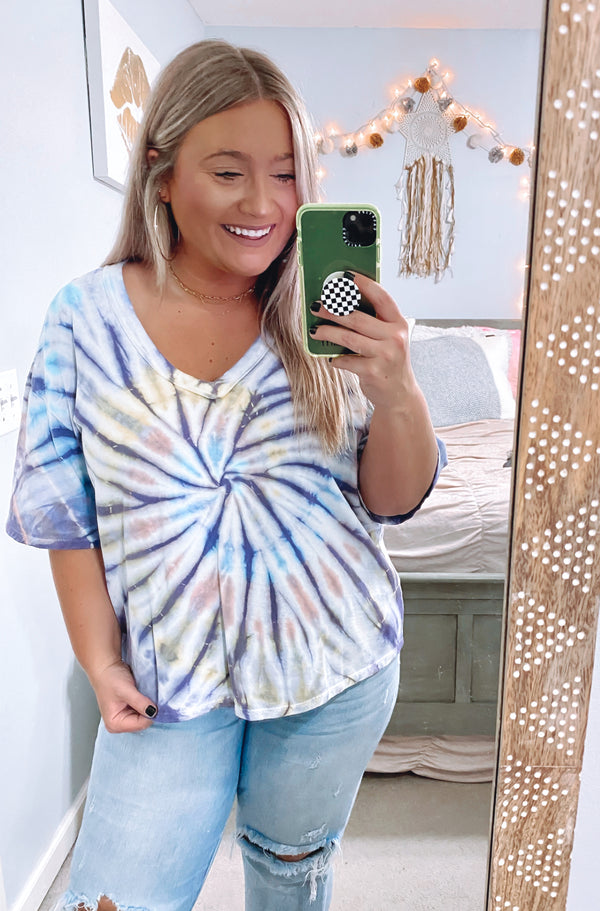 S / Lemon Artistic Illusion Tie Dye Swirl Short Sleeve Top - Madison and Mallory