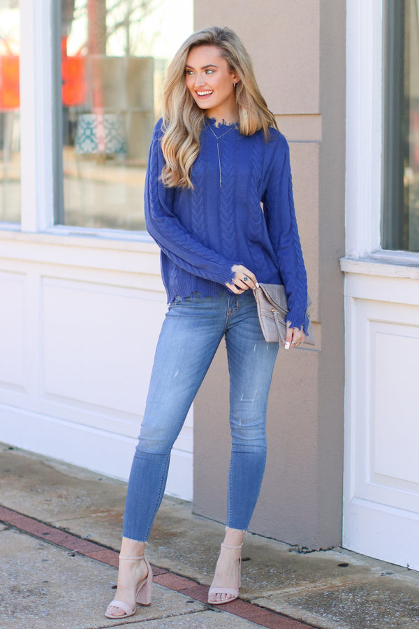 Law Bender Cable Knit Sweater - Blue - Madison + Mallory