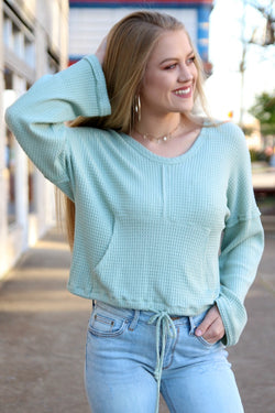 S / Mint Thermal Drawstring Top - Madison + Mallory