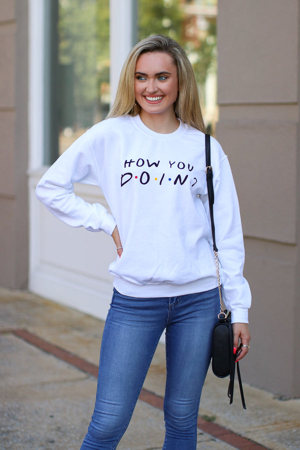 S / White How You Doin? Graphic Sweatshirt - Madison + Mallory