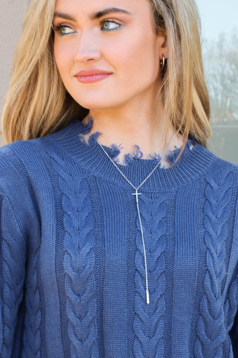 Silver Desi Cross Charm Lariat Necklace - Madison and Mallory