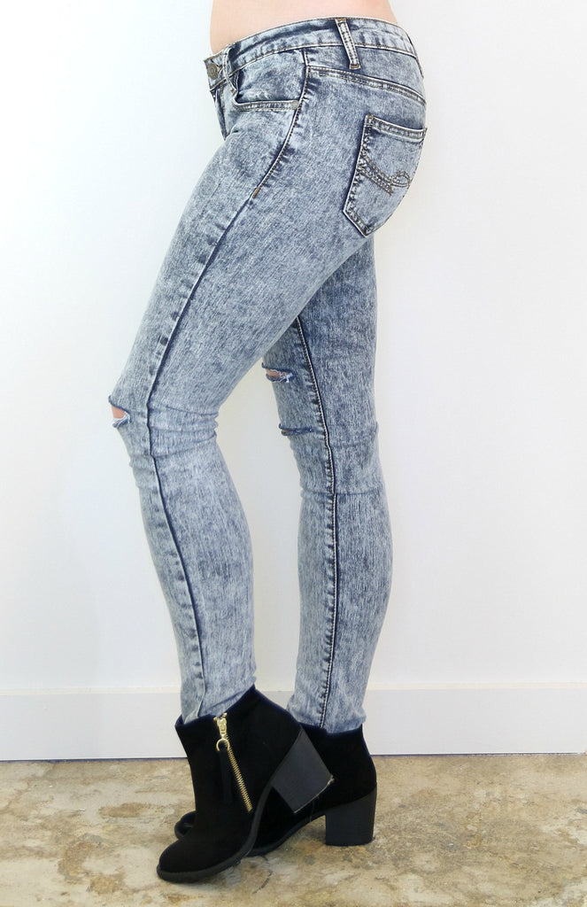 Acid Wash Gray Distressed Super Skinny Jeans