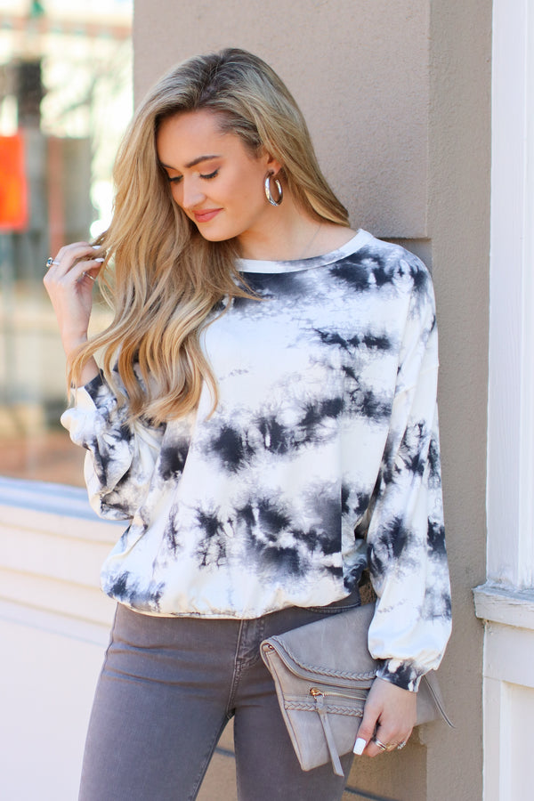 S / Black Ride or Dye Tie Dye Print Top - Madison and Mallory