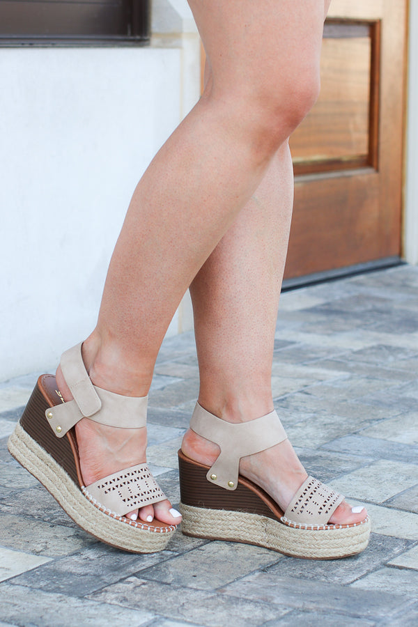 Send You Off Laser Cut Espadrille Wedges - Madison + Mallory