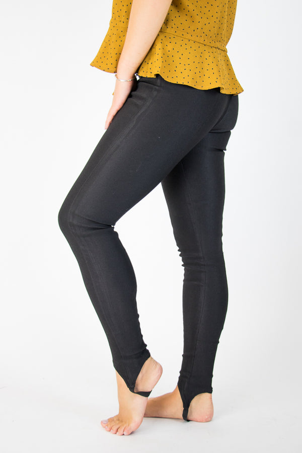 S / Black Black Stirrup Jeggings - FINAL SALE - Madison + Mallory