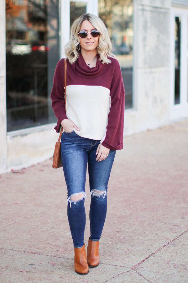 Call My Name Color Block Turtleneck Top - Madison + Mallory