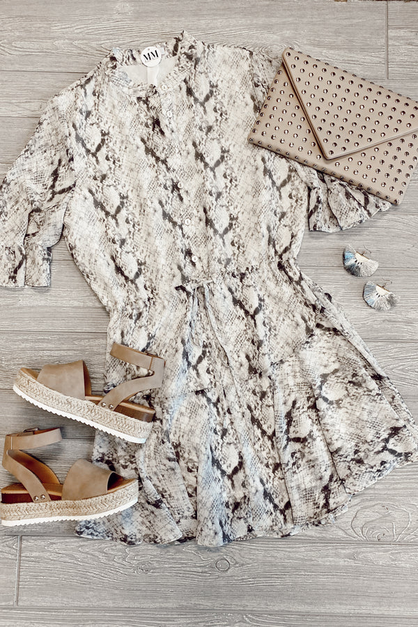Renew Snake Print Button Down Dress - FINAL SALE - Madison and Mallory