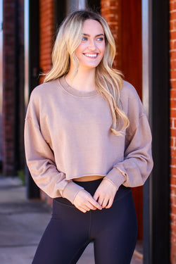 Mushroom / S Seaside Getaway Mineral Wash Pullover - Madison and Mallory