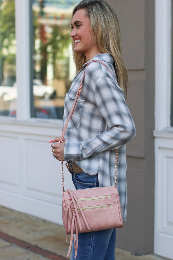 Midtown Double Zip Crossbody - Pink - Madison + Mallory