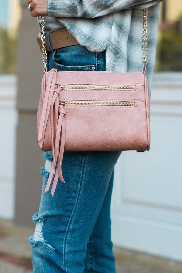 Pink Midtown Double Zip Crossbody - Pink - Madison + Mallory