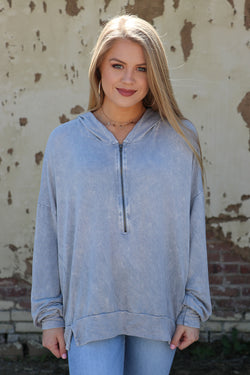 S / Gray Mineral Washed Hoodie - Madison + Mallory