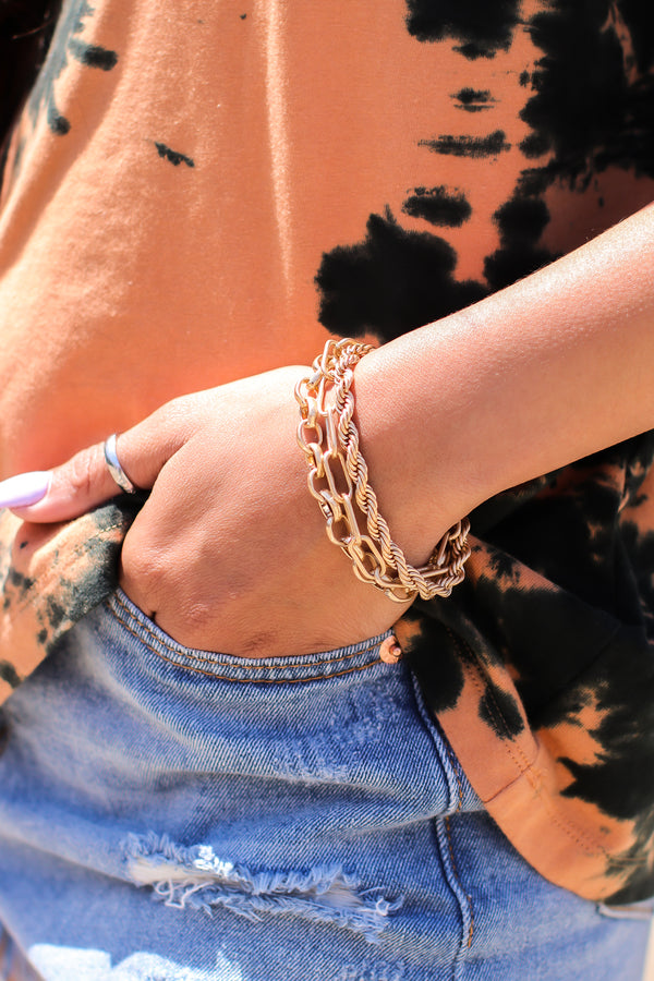 Worn Gold Focus on Me Mix Layer Chain Bracelet - Madison and Mallory