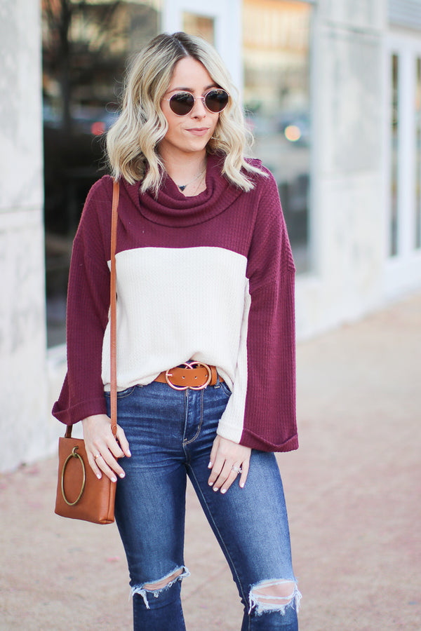 S / Burgundy Call My Name Color Block Turtleneck Top - Madison + Mallory