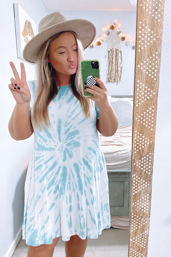 S / Emerald Proxima Tie Dye Swirl Dress - FINAL SALE - Madison and Mallory
