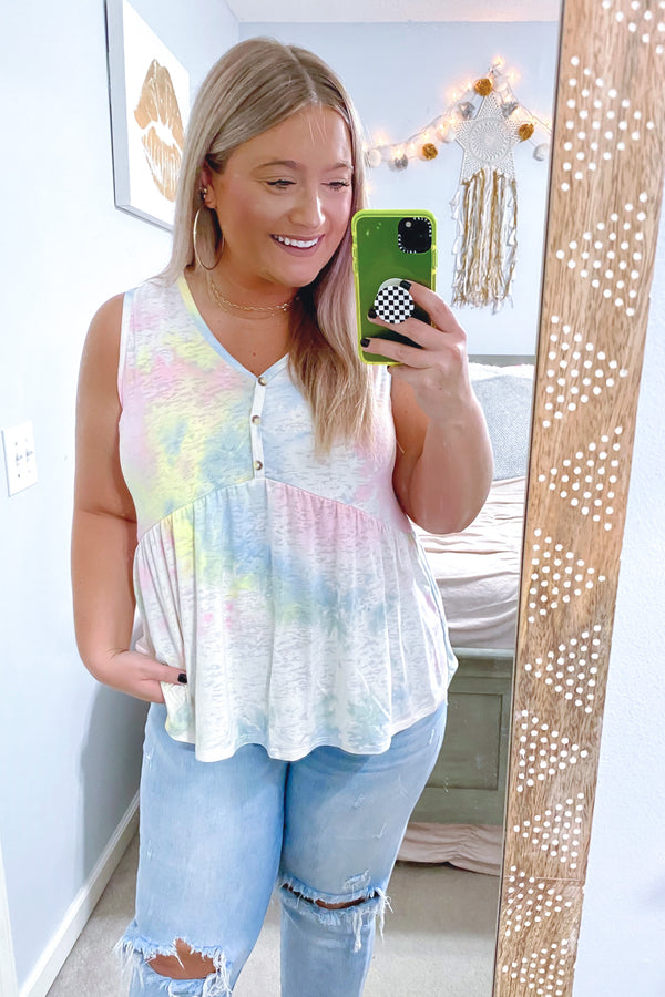 Pink / S Sunshine Sorbet Burnout Tie Dye Peplum Top - Madison and Mallory
