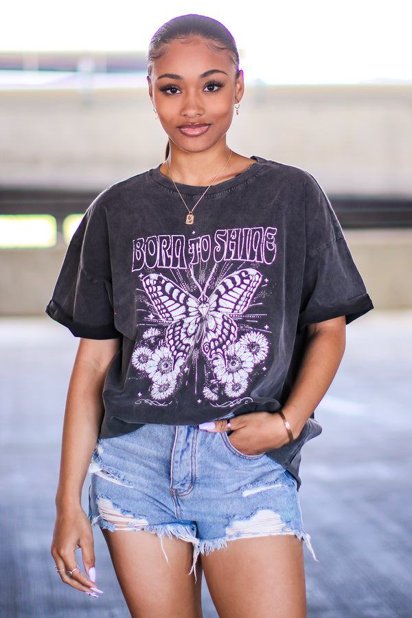 Black / S Born to Shine Butterfly Graphic Tee - Madison and Mallory