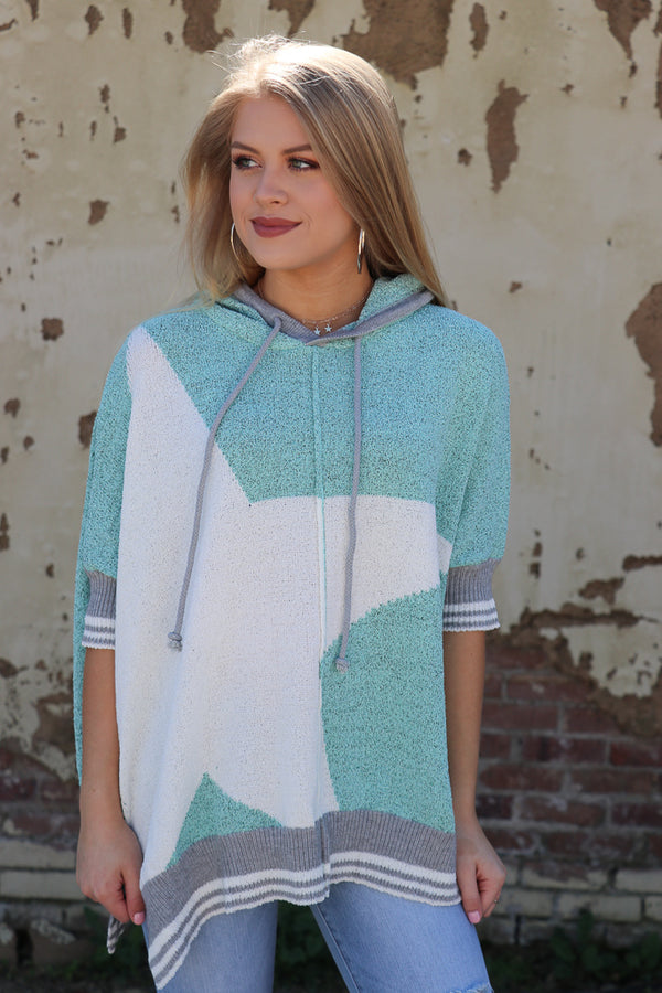 S / Blue Spa Oversized Star Knit Hoodie - Madison + Mallory