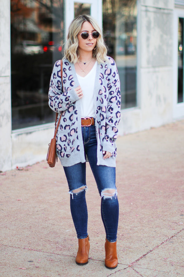 On the Prowl Leopard Cardigan - Gray - Madison + Mallory