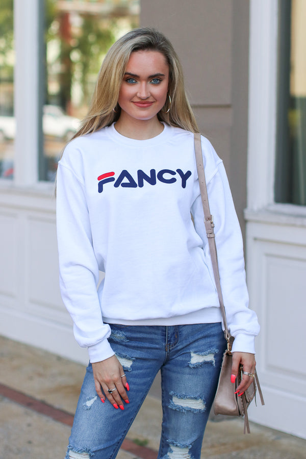 S / White Fancy Graphic Sweatshirt - FINAL SALE - Madison + Mallory