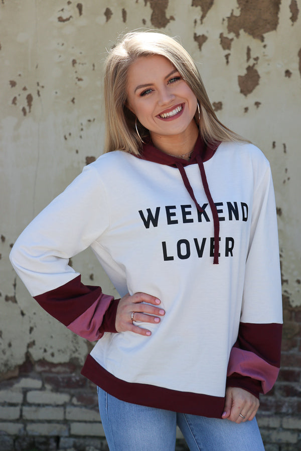 S / Ivory/Burgundy Weekend Lover Graphic Hoodie - Madison + Mallory