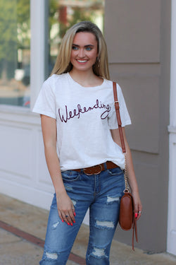 S / White Weekending Graphic Top - Madison + Mallory