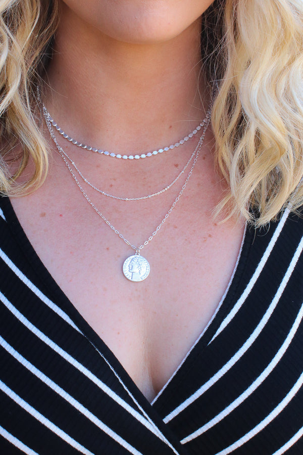OS / Silver Downtown Lights Layered Coin Necklace - Madison + Mallory