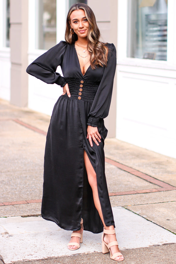S / Black Breezy Beauty Smocked Waist Maxi Dress - Madison and Mallory