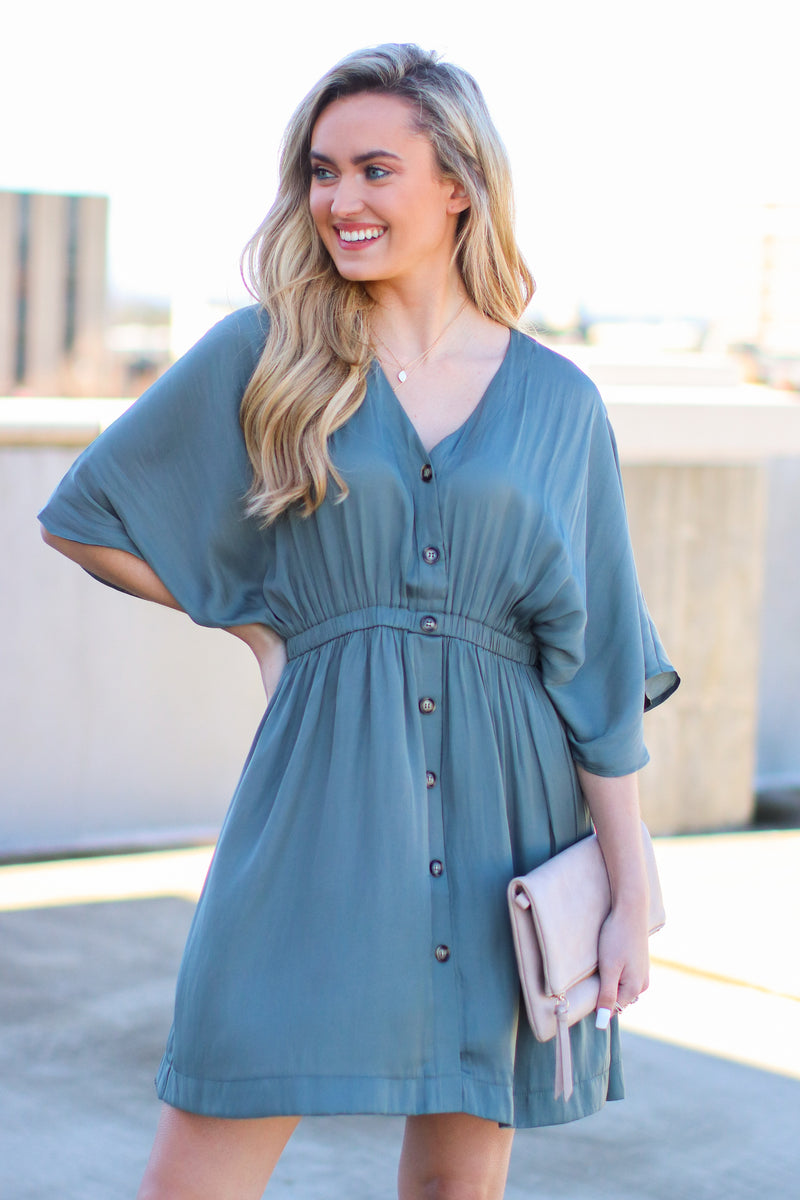 Gray / S Durant Button Front Dress - Gray - Madison and Mallory