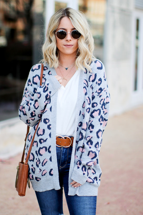 SM / Gray On the Prowl Leopard Cardigan - Gray - Madison + Mallory