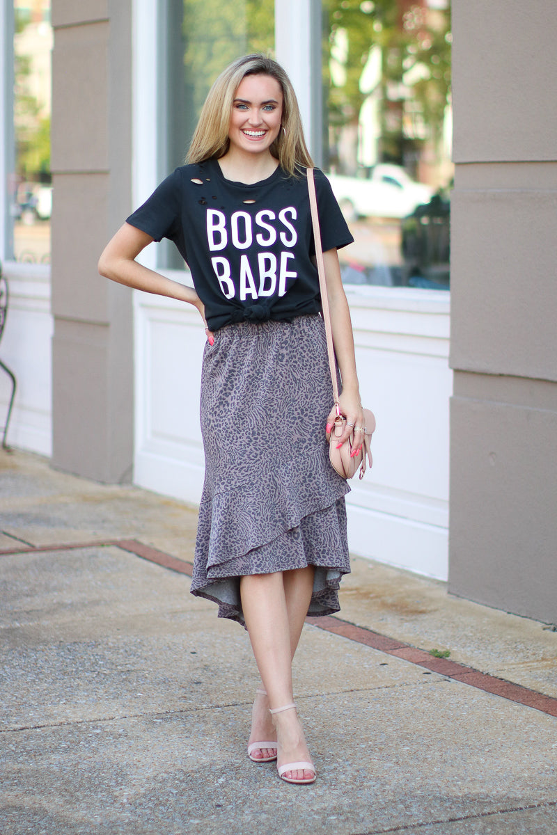 Boss Babe Distressed Graphic Top - Madison + Mallory