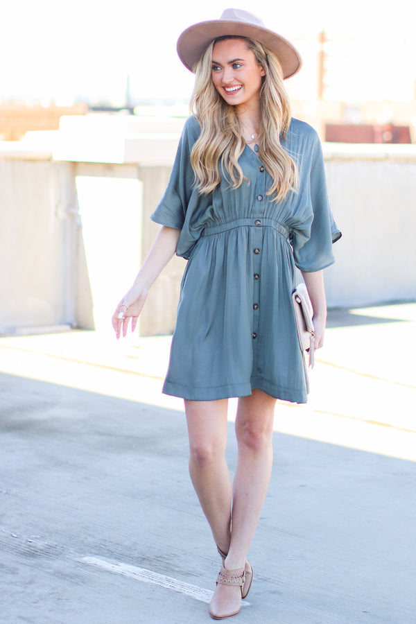 Durant Button Front Dress - Gray - Madison + Mallory