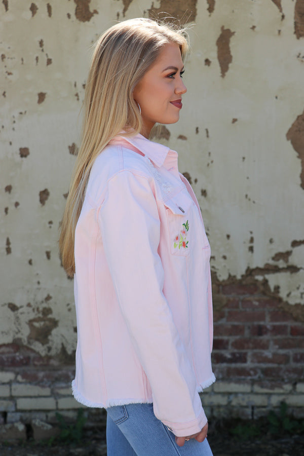 Pink Denim Floral Jacket - FINAL SALE - Madison + Mallory