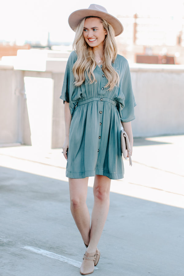 Durant Button Front Dress - Gray - Madison and Mallory