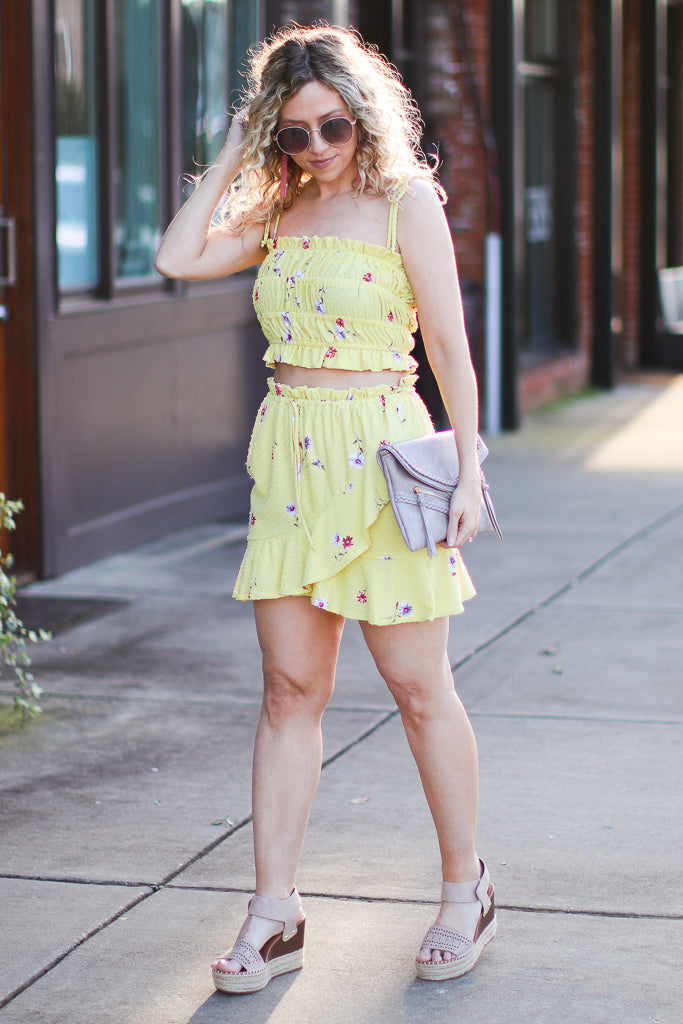 S / Yellow Calla Floral Skirt - FINAL SALE - Madison and Mallory