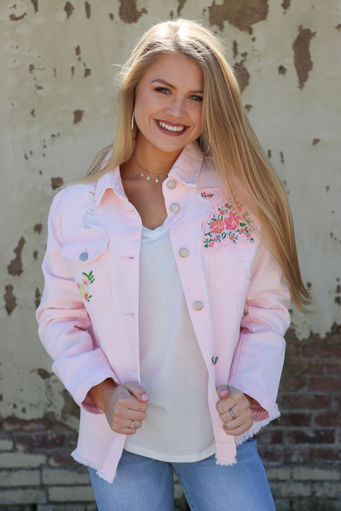 S / Pink Pink Denim Floral Jacket - Madison + Mallory