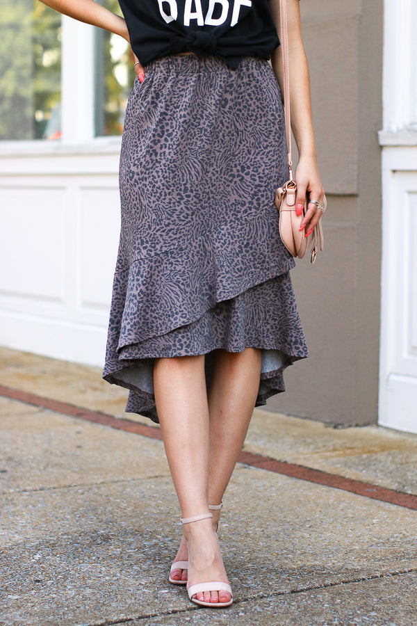 Great Escape Leopard Ruffle Skirt - Madison + Mallory