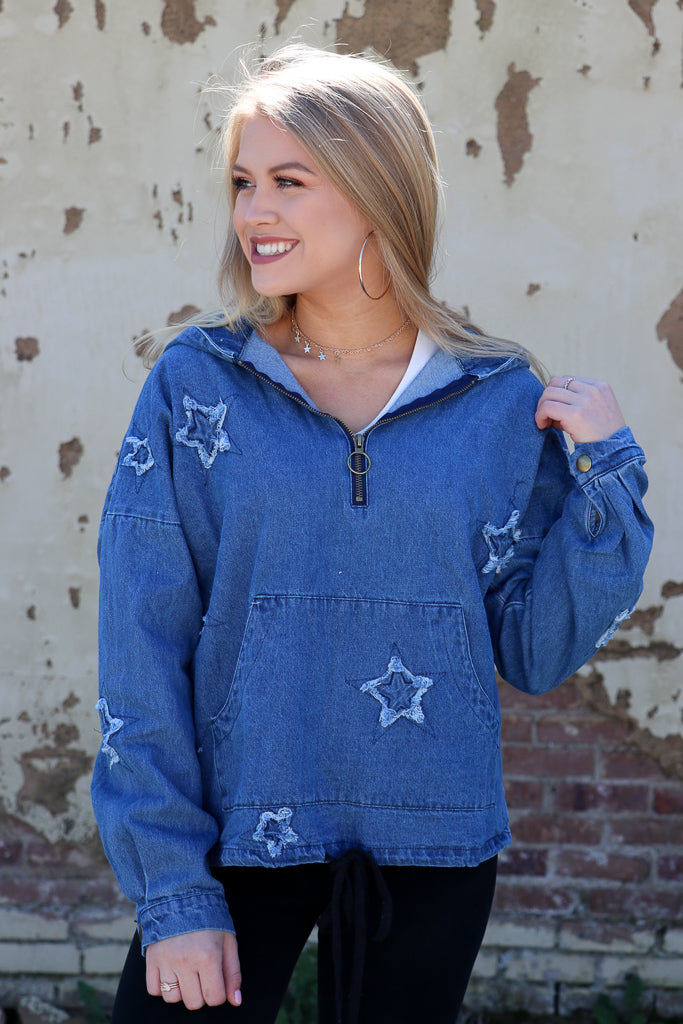 S / Denim Star Embroidered Denim Pullover - Madison + Mallory
