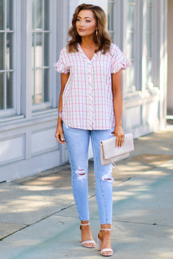 S / Red Been Awhile Plaid Ruffle Top - Madison + Mallory