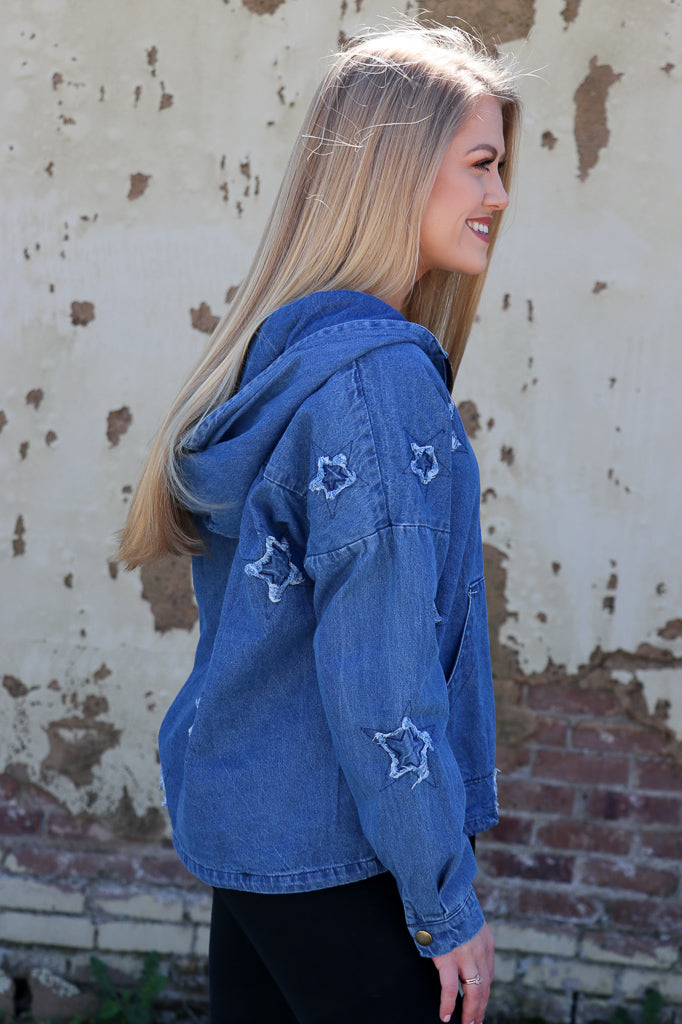 Star Embroidered Denim Pullover - Madison + Mallory