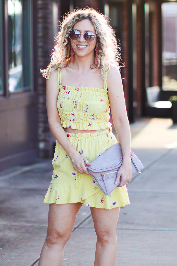 S / Yellow Calla Floral Top - FINAL SALE - Madison + Mallory