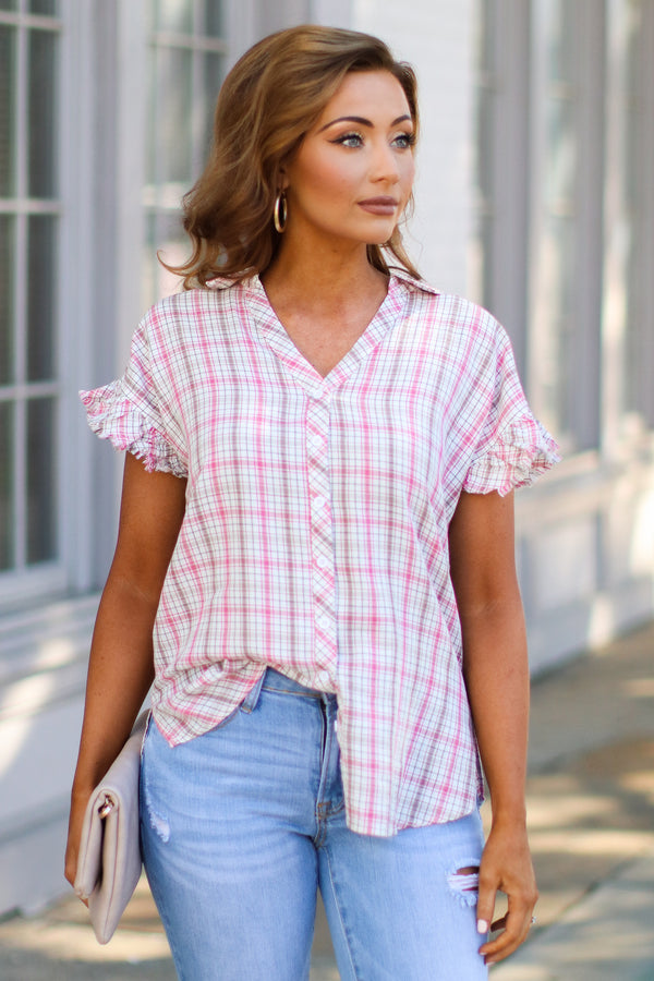 Been Awhile Plaid Ruffle Top - Madison + Mallory