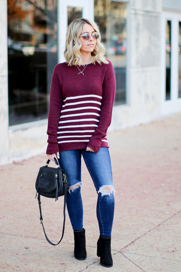 Leading Love Striped Sweater - Madison + Mallory