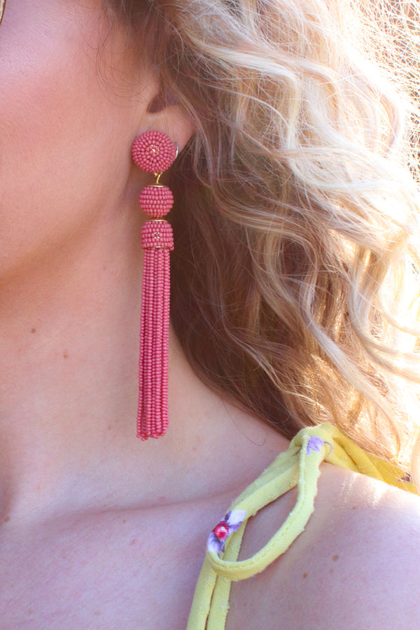 Coral Color Me Happy Seed Bead Fringe Dangle Earrings + MORE COLORS - Madison + Mallory