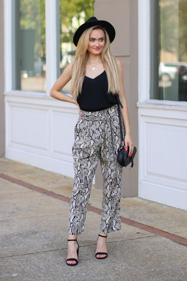 S / Taupe Closing Time Tie Waist Snake Print Pants - Madison + Mallory