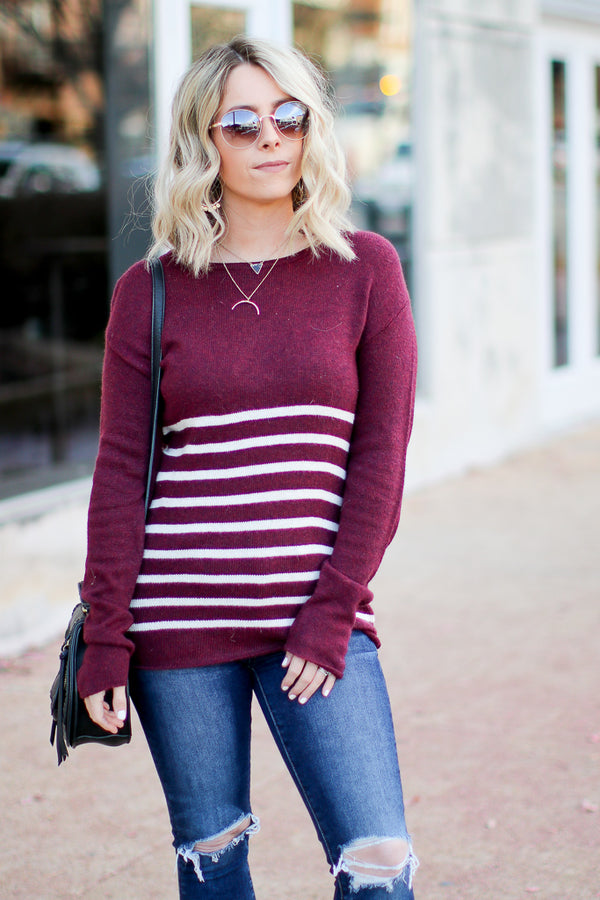 S / Burgundy Leading Love Striped Sweater - Madison + Mallory