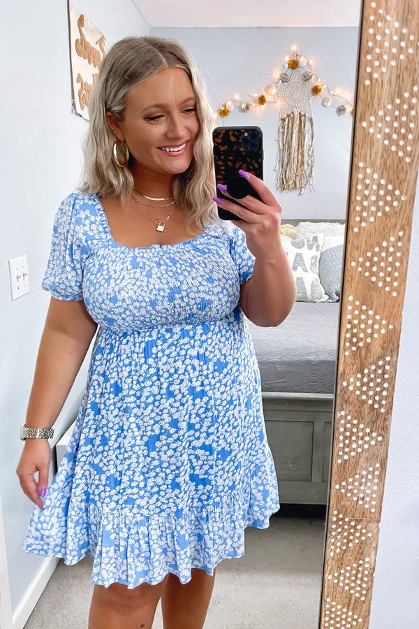 S / Aqua Blue Floral Forever Print Smocked Dress - Madison and Mallory