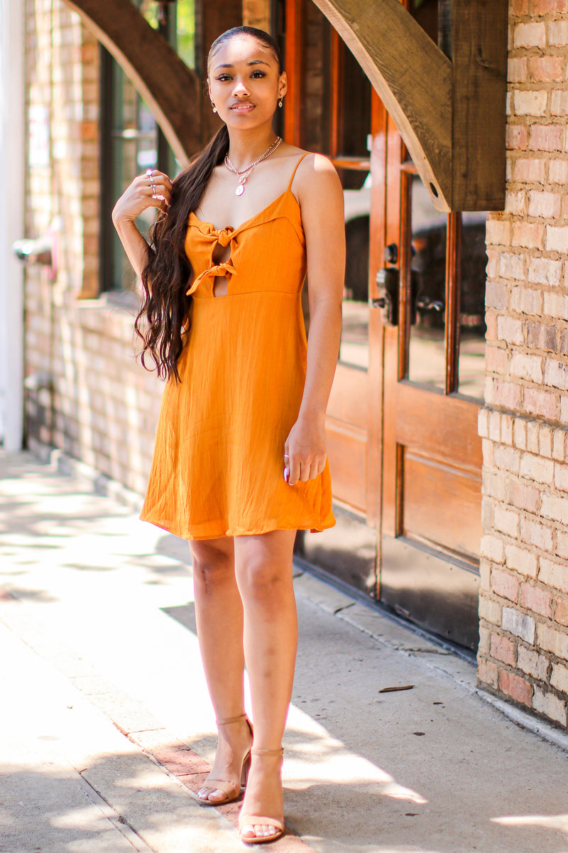 Worth a Tie Cutout Front Dress - Madison and Mallory