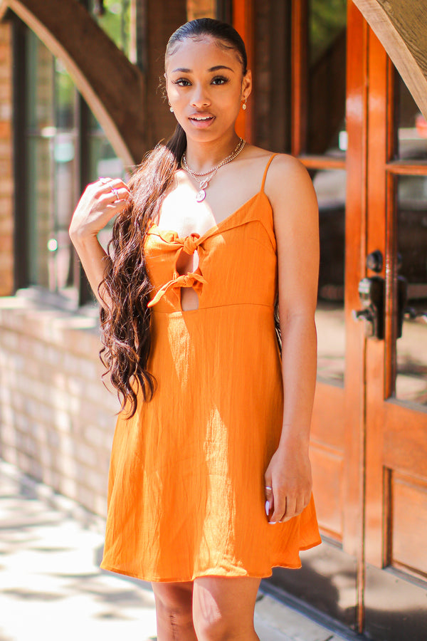 S / Camel Worth a Tie Cutout Front Dress - Madison and Mallory